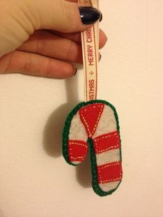 felt embroidered candy cane hanging ornament £4.00