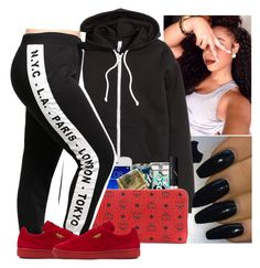""""""""""" by wavyjai ❤ liked on Polyvore featuring H&M, NARS Cosmetics, MCM and Puma"""
