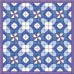The silver lanes quilt is made using three shades of blue together with purple and white. A striking quilt that needs no alternate block designs.
