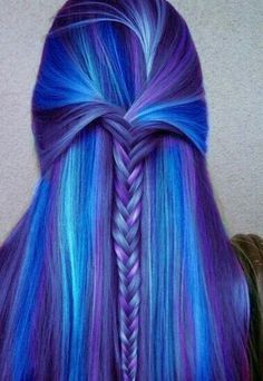 Blue and purple, half up style, fishtail braid hair