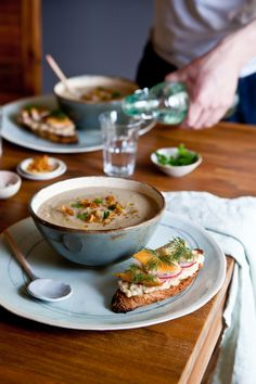 JERUSALEM ARTICHOKE & PARSNIP SOUP WITH WHITE BEAN, DILL AND SMOKED TARTINES.