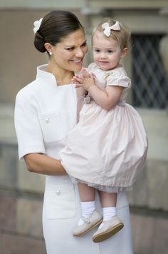 Crown Princess Victoria and Princess Estelle ~ notice Estelle's small Jubilee Medal