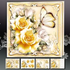 Yellow and White Roses Mini Kit on Craftsuprint designed by Atlic Snezana - Yellow and White Roses Mini Kit: 4 sheets for print with decoupage for 3D effect plus few sentiment tags (for your own personal text) - Now available for download!