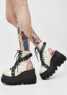 199608e514a2 Demonia Pearl Cutout Heel Shaker Boots cuz you got em  shakin  in their  boots