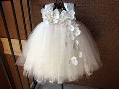 Ivory Lace Flower Girl Tutu Dress by KatieDscreations on Etsy, $100.00