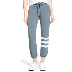 Sundry Stripe Detail Drawstring Sweatpants (5,815 DOP) ❤ liked on Polyvore featuring activewear, activewear pants, capri, sundry sweatpants, sweat pants, drawstring sweat pants, blue sweatpants and drawstring sweatpants