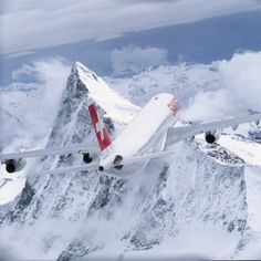 Flying over the mountains.