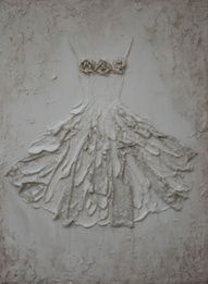 Rachel Schwind-Segreto Gallery - Vintage Dress - Plaster and Mixed Media on Panel - 47 in. x 37 in. -