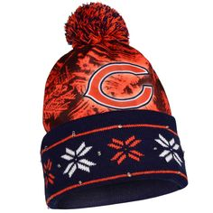 5ae28a079e9 Chicago Bears Official NFL Big Logo Beanie Stocking Stretch Knit Sock Hat  by Forever Collectibles