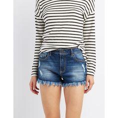 Refuge Hi-Rise Cheeky Denim Shorts ($25) ❤ liked on Polyvore featuring shorts, dark wash deni, destroyed jean shorts, ripped denim shorts, denim cut-off shorts, cut off shorts and distressed jean shorts