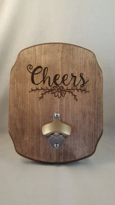 Cheers // Wood Burned Plaque & Bottle Opener by BrennenCo on Etsy