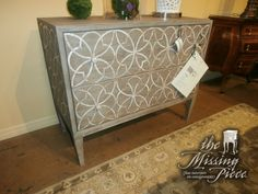Pictures dont do this justice. This Bernhardt chest has Poplar and Acacia solids and Acacia veneers with inlaid Mother of Pearl on drawer fronts and end panels. This retails for $2234 and measures 40x18x32.5.