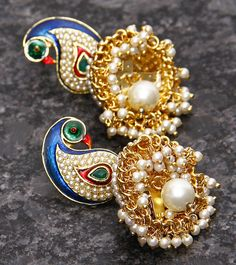 Golden And Multicoloured Embellished Earrings