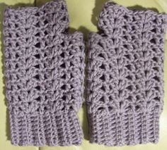 I gave all you knitters out there a pattern for Christmas (Terry's Scarf) so here's a little something for the crocheters too: EASY VICTORIAN SHELL MITTS Yarn - 2 skeins Knit Picks Main Line (Dusty Lavender pictured) or 160 yds...