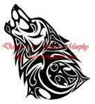 trible wolf.would look good done in a celtic knot