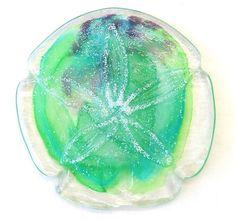 New Hand Blown Glass Sand Dollar Green Purple Blue USA Made 6 | eBay
