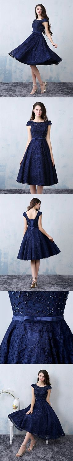 Chic Homecoming Dress A-line Dark Navy Lace Beading Short Prom Dress Party Dress JK463#homecomingdress #homecoming #shortdress #shortpromdress #partydress #party #prom #fashion #style #dress #keenlength #lace #darknavy #navydress #bowknot #beading #beadingdress #lacedress