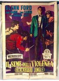 Il seme della violenza - Blackboard jungle. Original italian vintage poster - ON SALE ! www.kustomlifestyle.it  #movieposter #affiche #manifesto #locandina #graphicart #interiordesign #italianposter #italianart