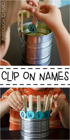 Fun, hands-on name game for kids. Clip-On Paint Chip Names.