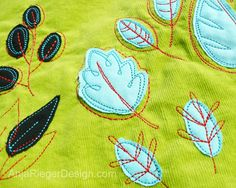 Love the embroidery on these leaves! This would look great for some Fall time purses next year