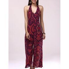 15.38$  Buy here - http://die9b.justgood.pw/go.php?t=181708503 - Casual Backless Printing Halter Bohemian Jumpsuit For Women