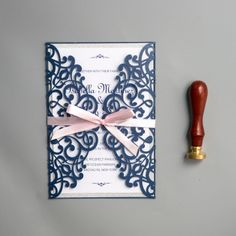 Spring Laser Cut Wedding Invitations with Ribbon, Navy blue and pink wedding colors, diy wedding invitations, Free envelopes - Wedding Invitations - Wedding Invites Paper Pink Wedding Colors, Purple Wedding, Spring Wedding, Diy Wedding, Elegant Wedding, Wedding Cakes, Wedding Vows, Trendy Wedding, Rustic Wedding