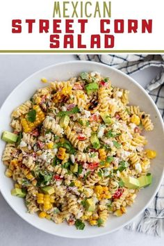 If you're a fan of Classic Mexican Street Corn then you're going to LOVE this fun twist in the form Mexican Street Corn PASTA SALAD! Beef Soup Recipes, Tasty Vegetarian Recipes, Healthy Pasta Recipes, Healthy Pastas, Pasta Salad Recipes, Veggie Recipes, Healthy Foods, Corn Pasta, Veggie Pasta