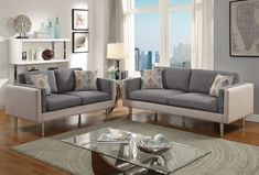 "2-Pc Sofa Set (F6554)  Dimensions:  Sofa - 75""L x 34""W x 33""H;  Loveseat - 58""L x 34""W x 33""H  Materials: Cotton Blended Fabric  Color: Ash Black, Sand  Weight: 188 lb.  Features: Single Cushioned Back & Seat Pillows"