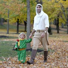 Prime Minister Trudeau dressed as the Pilot from The Little Prince with his youngest son dressed as the Little Prince. Photo credit: Justin Tang/the Canadian Press