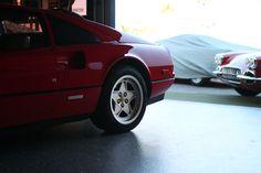 Ferrari and Corvette at the great Garage 77 in Los Angeles Corvette, Ferrari, Garage, Cars, Carport Garage, Corvettes, Autos, Garages, Car