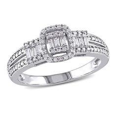 #ZALES - #Zales 1/3 CT. T.W. Composite Diamond Three Stone Cushion Frame Ring in 10K White Gold at Zales - AdoreWe.com
