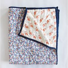 Flamingo and Floral Baby Quilt Crib Quilt Baby Bedding Crib Baby Girl Quilts, Girls Quilts, Quilt Baby, Baby Bedding, Flamingo Fabric, Floral Fabric, Toddler Quilt, Twin Quilt, Rifle Paper Co