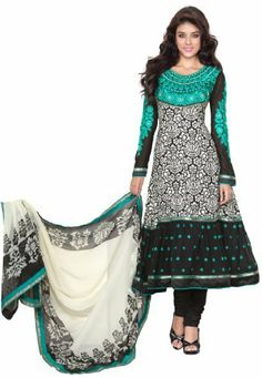 c4da7f5656 Fabdeal Indian Wear Black & Turquoise Embroidery Salwar Suit Dress Material