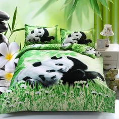 Cartoon Bedding Set Green Bamboo 3pcs Bed Set Panda Duvet Cover Bed Sheet Pillowcase Soft Comfortable Cover Full king queen size