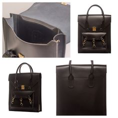 Black medium size tote bag practical for daily use in side the Pelham bag is spacious with a medium size pocket with the Tomas Brilliance logo embossed at the centre of the pocket  #bag #handbag #tote #black