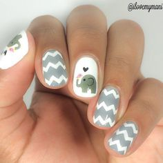 """If you're unfamiliar with nail trends and you hear the words """"coffin nails,"""" what comes to mind? It's not nails with coffins drawn on them. Although, that would be a cute look for Halloween. It's long nails with a square tip, and the look has. Fancy Nails, Love Nails, Diy Nails, Elephant Nails, Pink Elephant, Nail Art Vernis, Chevron Nail Art, Chevron Nail Designs, Gray Nail Art"""