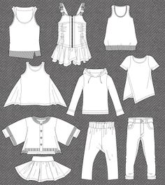 Set of isolated fashion flats for girls