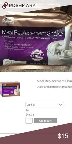Advocare Meal Replacement Shakes- Vanilla 7 packs Advocare Meal Replacement Shakes- Vanilla 7 packs- unopened. I bought the 24 day challenge and didn't finish- new these are about $3.25 a pack Other
