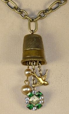 Repurposed thimble necklace