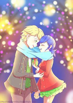 Cute Adrinette Christmas date (by Rikuharuka, Miraculous Ladybug, Adrien, Marinette)