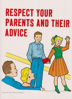 Vintage School Poster - Respect Your Parents And Their Advice - Good Manners Illustration - 1959.