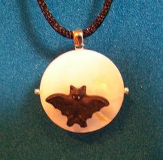 Bat Necklace with Mother of Pearl Moon by 8muddyfeet for $14.00