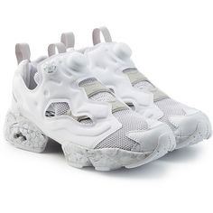 Reebok InstaPump Fury Trainers (2.073.470 IDR) ❤ liked on Polyvore featuring shoes, sneakers, white, marble shoes, reebok, reebok trainers, white sneakers and reebok shoes