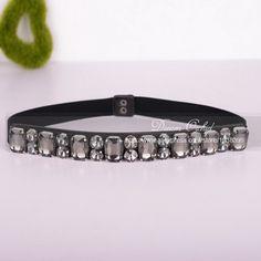Dreamlan 2016 Cummerbunds Women Dot and Square Beaded Belts Crystal Black Bow Floral Free Waist Sash Belt for Women Belts DF373