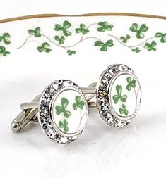 Irish Wedding Jewelry Cufflinks, Broken China Jewelry, Belleek China, Celtic, Shamrock, Ireland, Gift for Groom, Dad, Green DinnerWear Jewelry® ~ Specializing in one of a kind pieces since 1998. Hand carved from vintage Royal Tara shamrock china. Brilliant Swarovski crystals.