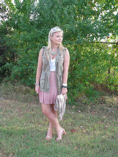 J Crew pale pink skirt & military vest