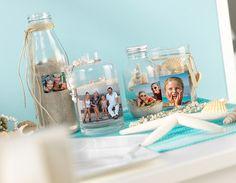 Individuell und Sommer pur –Tischdeko zum Selbermachen! :) Fotosticker könnt ihr hier bestellen: http://www.cewe-fotobuch.at/download.html #diy #summer