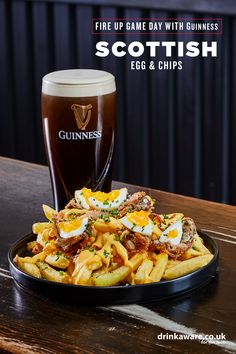 Get ready for the #GuinnessSixNations by tackling this Scottish egg & chips recipe (serves 2).   Dice 1 onion, fry with 2 bay leaves, butter and 1 tbsp garlic puree. Add 500g sausage meat and cook slowly using whisk to break up. Roast 2 black pudding logs for 25 mins. When the mix has cooled, add parsley. Steam 2 eggs for 8 mins then place in cold water and vinegar. Peel the shell and wrap eggs in the sausage mix. Breadcrumb, deep fry to taste, and don't forget to serve with a pint of… Veggie Recipes, Vegetarian Recipes, Cooking Recipes, Healthy Recipes, Egg Chips Recipe, Retro Recipes, Great Recipes, Good Food, Yummy Food