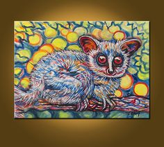 Spy Bush Baby  16 x 22 inch Original Oil Painting by