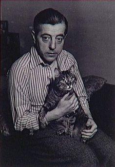 Brassaï - Portrait de Jacques Prévert avec son chat